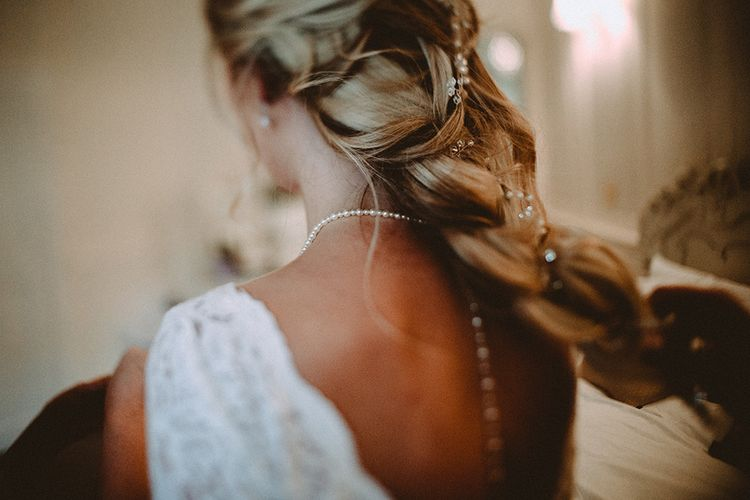 Loose Braid With Hair Vine // Elegant White Wedding In Somerset With Bride In Lace Long Sleeved Gown With Open Back And Loose Braid With Hair Vine Images From Carla Blain Photography