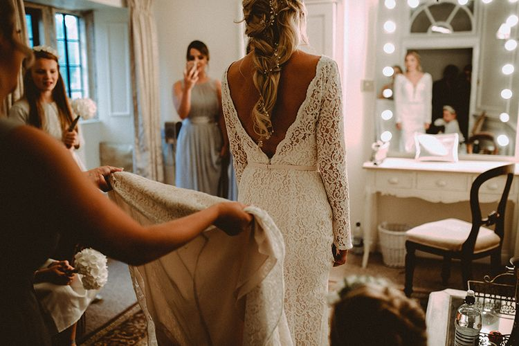 Back Necklace For Wedding Dress With Low Back // Elegant White Wedding In Somerset With Bride In Lace Long Sleeved Gown With Open Back And Loose Braid With Hair Vine Images From Carla Blain Photography