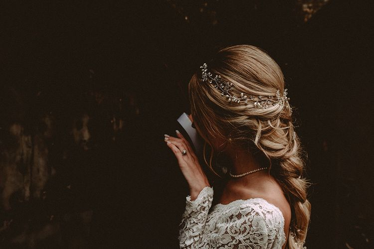 Elegant White Wedding In Somerset With Bride In Lace Long Sleeved Gown With Open Back And Loose Braid With Hair Vine Images From Carla Blain Photography