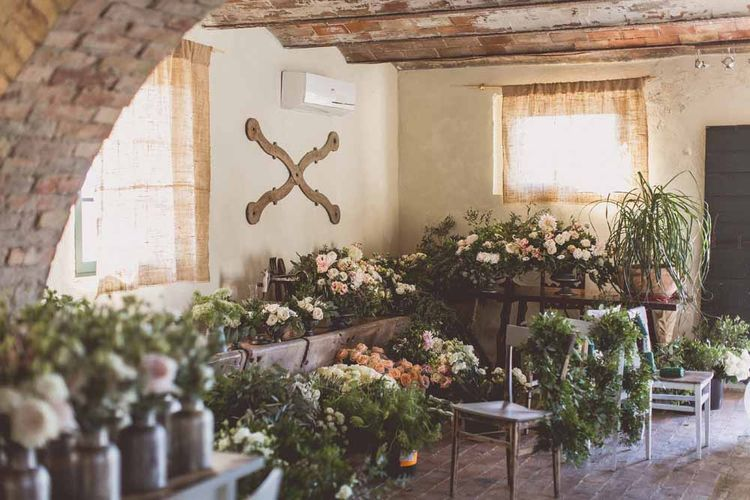 Wedding Flowers Ready To Be Arranged // Rustic Luxe Wedding In Tuscany Styled By The Wedding Of My Dreams With Flowers By Passion For Flowers Anna Campbell Bride Images & Film From WE ARE // THE CLARKES