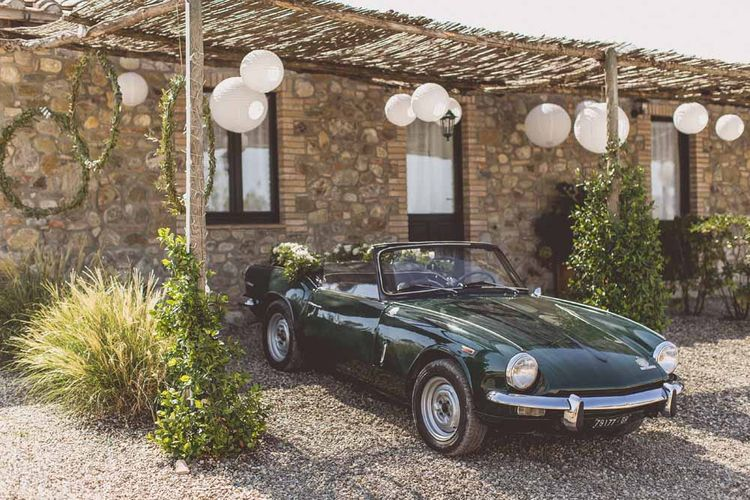 Vintage Wedding Car For Destination Wedding // Rustic Luxe Wedding In Tuscany Styled By The Wedding Of My Dreams With Flowers By Passion For Flowers Anna Campbell Bride Images & Film From WE ARE // THE CLARKES