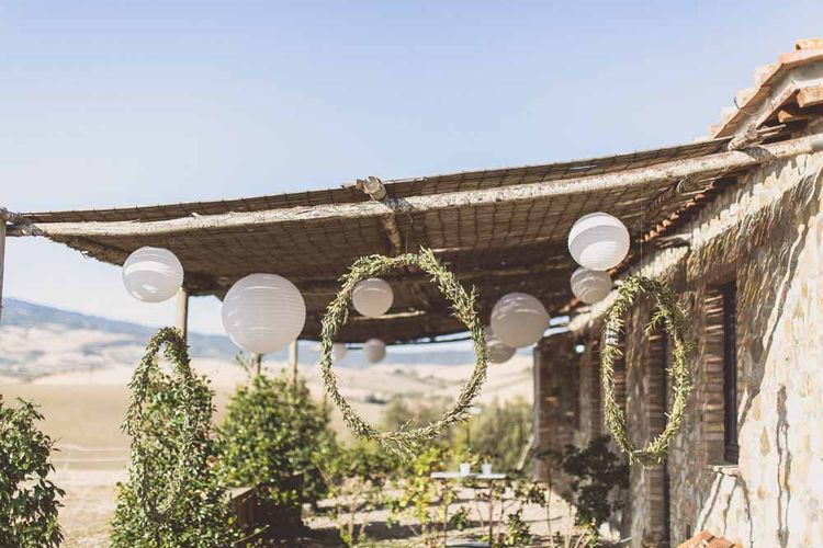 White Lantern Wedding Decor // Rustic Luxe Wedding In Tuscany Styled By The Wedding Of My Dreams With Flowers By Passion For Flowers Anna Campbell Bride Images & Film From WE ARE // THE CLARKES