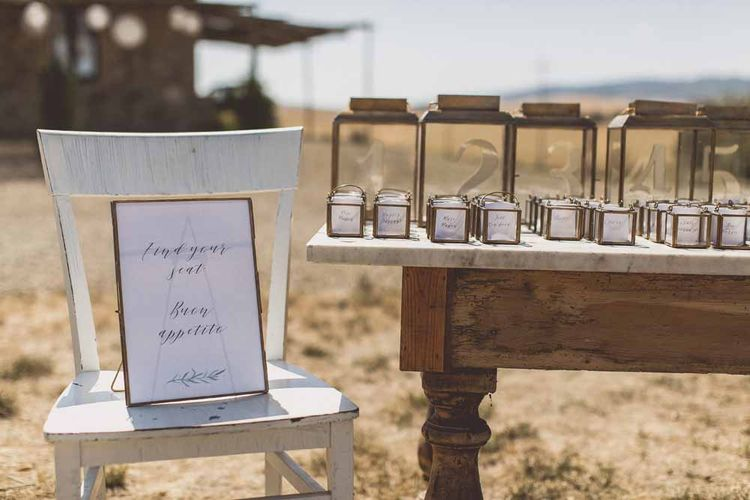 Escort Cards For Wedding // Rustic Luxe Wedding In Tuscany Styled By The Wedding Of My Dreams With Flowers By Passion For Flowers Anna Campbell Bride Images & Film From WE ARE // THE CLARKES