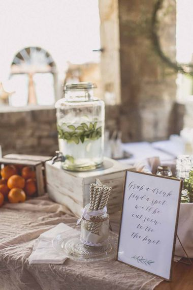 Drinks Station At Italian Wedding // Rustic Luxe Wedding In Tuscany Styled By The Wedding Of My Dreams With Flowers By Passion For Flowers Anna Campbell Bride Images & Film From WE ARE // THE CLARKES
