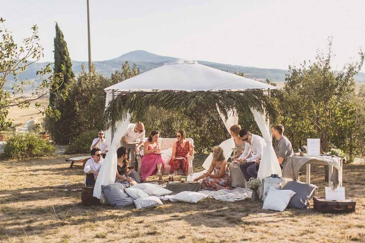 Outdoor Seating Area For Destination Wedding // Rustic Luxe Wedding In Tuscany Styled By The Wedding Of My Dreams With Flowers By Passion For Flowers Anna Campbell Bride Images & Film From WE ARE // THE CLARKES