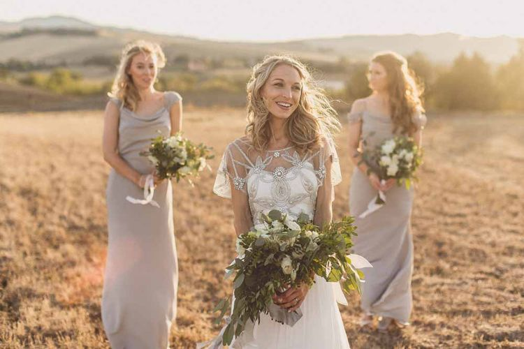 Bridesmaids In Grey Dresses By Jenny Yoo // Rustic Luxe Wedding In Tuscany Styled By The Wedding Of My Dreams With Flowers By Passion For Flowers Anna Campbell Bride Images & Film From WE ARE // THE CLARKES