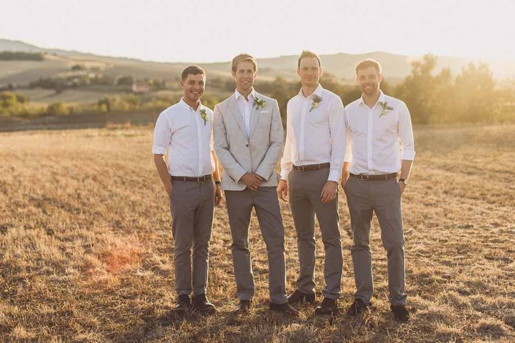 Destination Wedding Groom & Groomsmen In Light Suits
