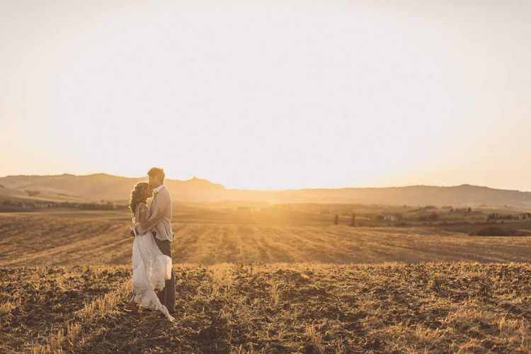 Golden Hour Shots // Bridesmaids In Grey Dresses By Jenny Yoo // Rustic Luxe Wedding In Tuscany Styled By The Wedding Of My Dreams With Flowers By Passion For Flowers Anna Campbell Bride Images & Film From WE ARE // THE CLARKES