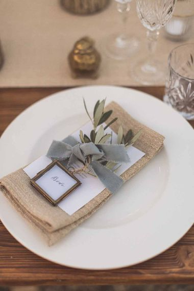 Simple Place Setting With Hessian And Herbs // Outdoor Dining At Italian Wedding // Bridesmaids In Grey Dresses By Jenny Yoo // Rustic Luxe Wedding In Tuscany Styled By The Wedding Of My Dreams With Flowers By Passion For Flowers Anna Campbell Bride Images & Film From WE ARE // THE CLARKES