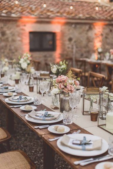 Outdoor Dining At Italian Wedding // Bridesmaids In Grey Dresses By Jenny Yoo // Rustic Luxe Wedding In Tuscany Styled By The Wedding Of My Dreams With Flowers By Passion For Flowers Anna Campbell Bride Images & Film From WE ARE // THE CLARKES