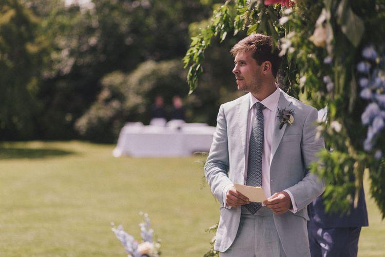 Groom In Linen Suit