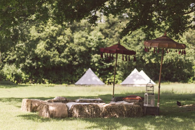 At Home Wedding With Bell Tents and Outdoor Seating Area