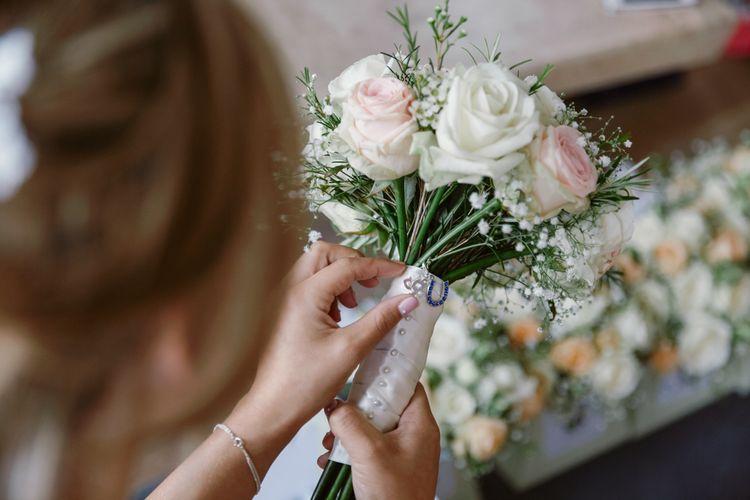 White & Pink Rose Wedding Bouquet   Natalie J Weddings Photography