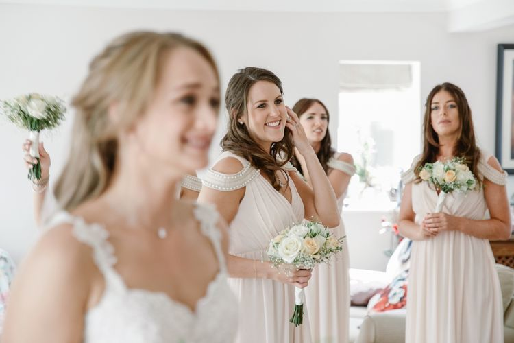 Bride Getting Ready in Naam Anat Bridal Gown   Bridesmaids in Blush Pink ASOS Dresses   Natalie J Weddings Photography
