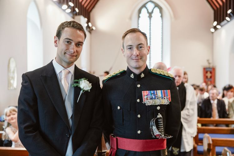 Groom in Military Uniform at the Church Altar Bride Getting Ready in Naam Anat Bridal Gown   Natalie J Weddings Photography