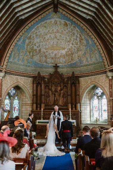 Church Wedding Ceremony   Bride in Naam Anat Bridal Gown   Groom in Military Uniform   Natalie J Weddings Photography