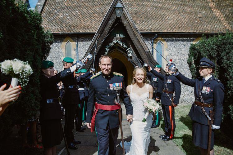 Military Salute   Church Wedding   Bride in Naam Anat Bridal Gown   Groom in Military Uniform   Natalie J Weddings Photography