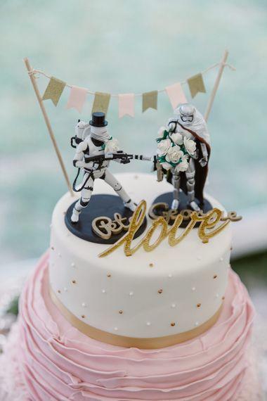 Star Wars Cake Topper   Pastel Pink Marquee Wedding   Natalie J Weddings Photography