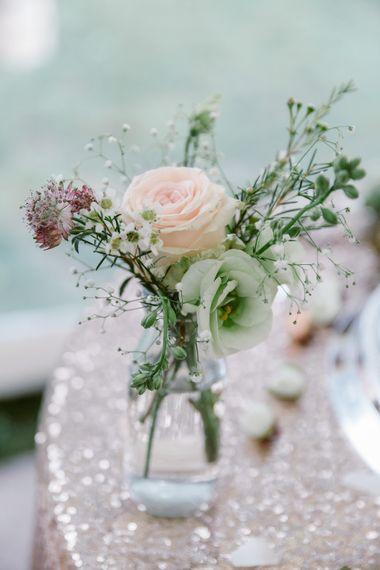Flower Stems in Milk Bottles   Wedding Decor   Pastel Pink Marquee Wedding   Natalie J Weddings Photography