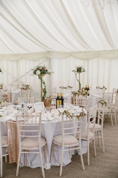 Tall Table Centrepieces   Pastel Pink Marquee Wedding   Natalie J Weddings Photography