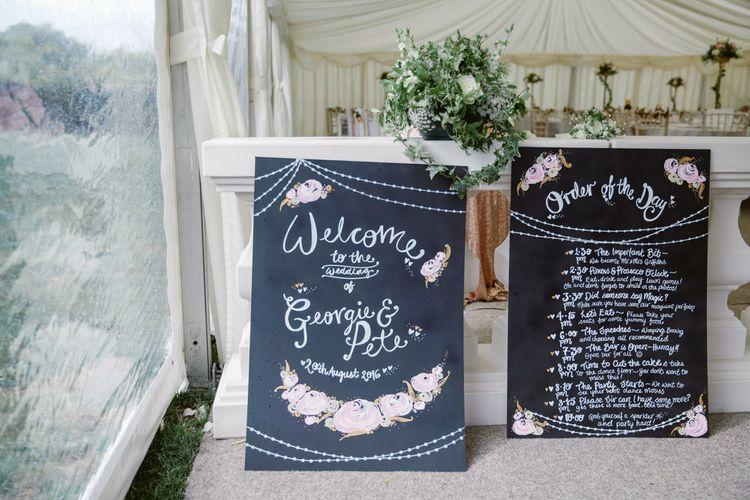 Chalkboard Wedding Signs   Wedding Decor   Pastel Pink Marquee Wedding   Natalie J Weddings Photography