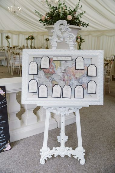 Map Table Plan on Easel   Wedding Decor   Pastel Pink Marquee Wedding   Natalie J Weddings Photography