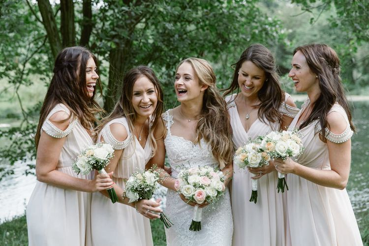 Bride in Lace Naam Anat Bridal Gown   Bridesmaids Blush Pink ASOS Dresses   Natalie J Weddings Photography