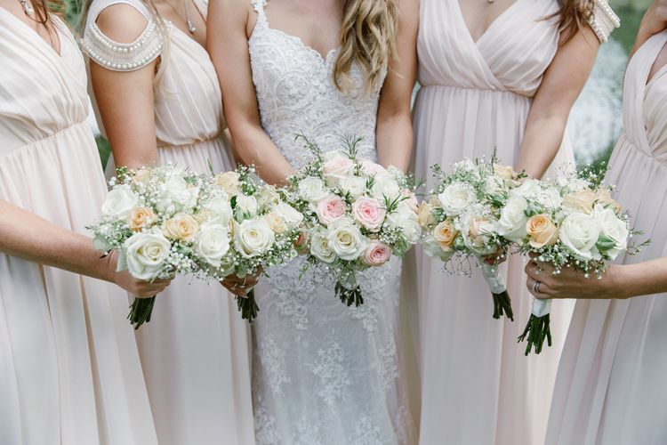 Pink & White Rose Bouquets   Bride in Lace Naam Anat Bridal Gown   Bridesmaids Blush Pink ASOS Dresses   Natalie J Weddings Photography