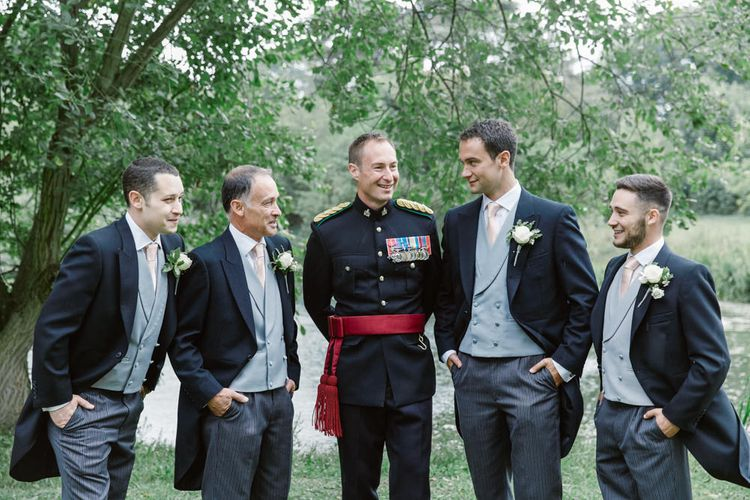 Groomsmen in Traditional Tails   Groom in Military Uniform   Natalie J Weddings Photography