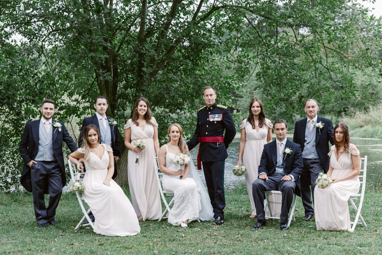 Bridal Party   Bride in Lace Naam Anat Bridal Gown   Bridesmaids Blush Pink ASOS Dresses   Groom in Military Uniform   Groomsmen in Morning Suits   Natalie J Weddings Photography
