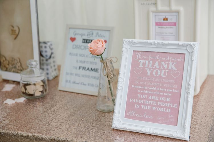 Thank You Wedding Sign   Pastel Pink Marquee Wedding   Natalie J Weddings Photography