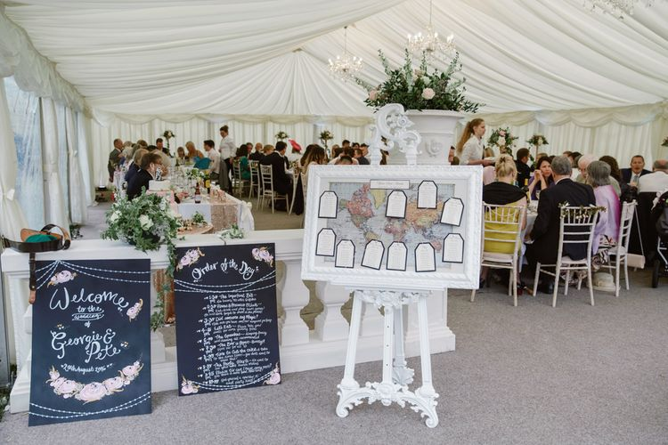 Chalkboard Wedding Signs   Map Table Plan   Wedding Decor   Pastel Pink Marquee Wedding   Natalie J Weddings Photography