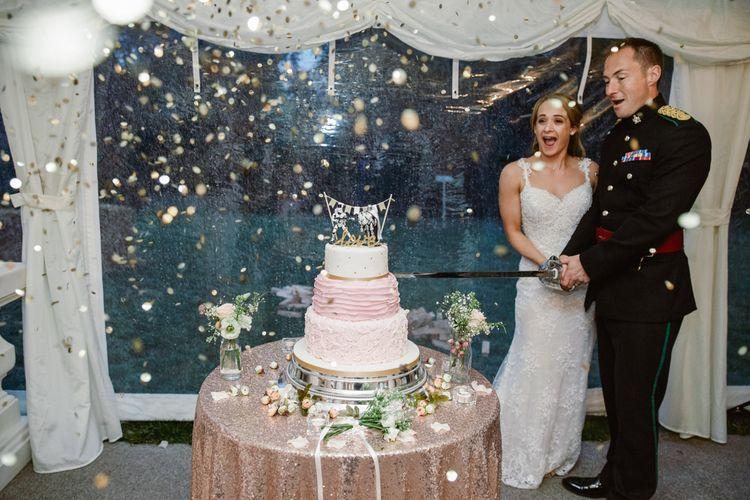 Wedding Cake   Bride in Naam Anat Bridal Gown   Groom in Military Uniform   Natalie J Weddings Photography