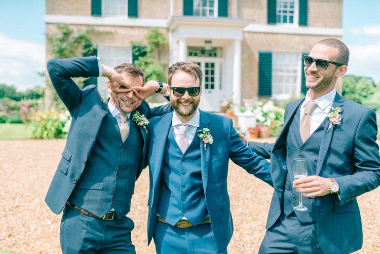 Groom in Ted Baker Suit | Groomsmen in Slater Suits