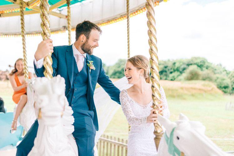 Bride & Groom on Preston Court Carousel