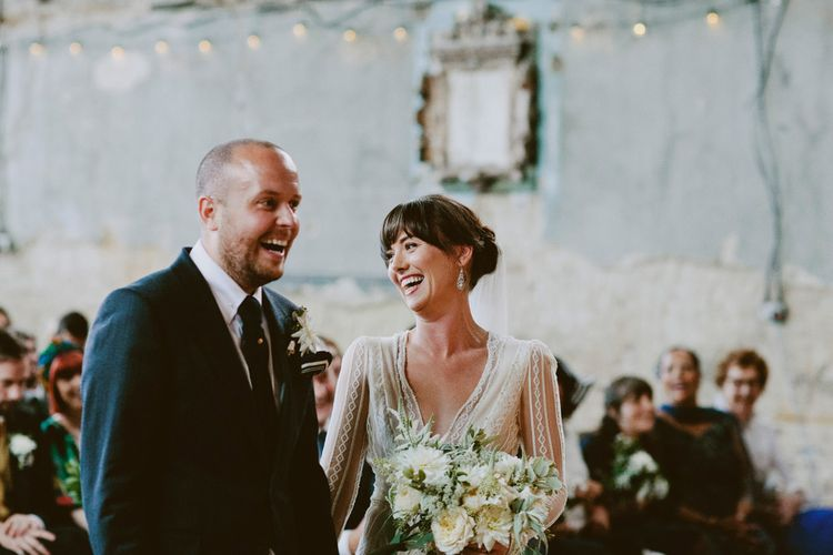 Wedding Ceremony at The Asylum, Peckham | Bride in Preowned Lace Inbal Dror Wedding Dress | Groom in Gieves & Hawkes Suit | David Jenkins Photography