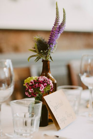 Flower Stems in Vases | Table Centrepieces | Londesborough Pub Wedding Reception | David Jenkins Photography