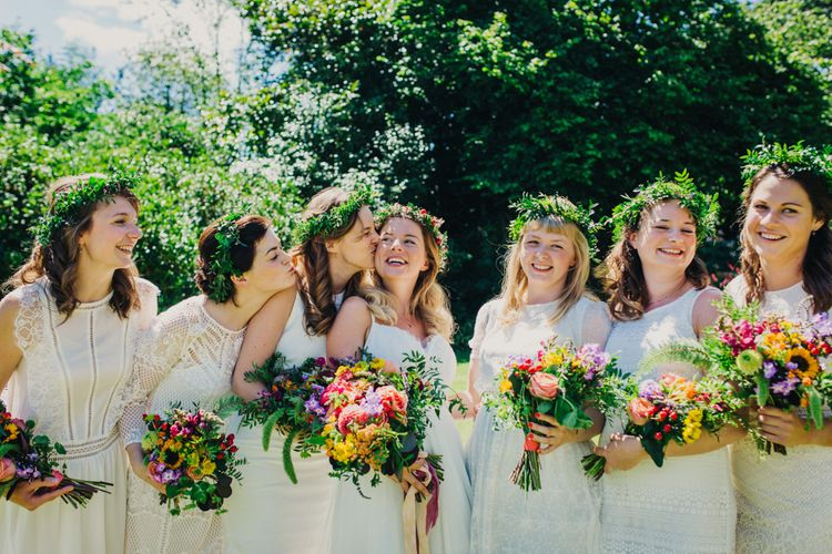 Bride & Bridesmaids in White Dresses