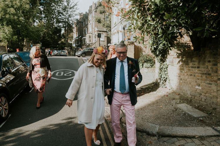 Bride & Dad Walking To Wedding Ceremony