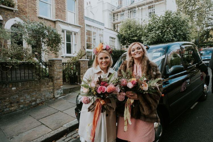 Bride & Bridesmaid With Oversized Handtied Wedding Bouquets