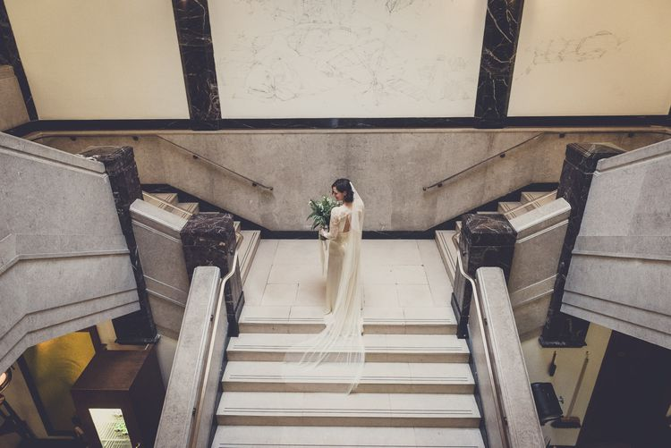 Bride in Story of My Dress Bridal Gown | Vintage Wedding at The Asylum & Town hall Hotel London | Kevin Fern Photography