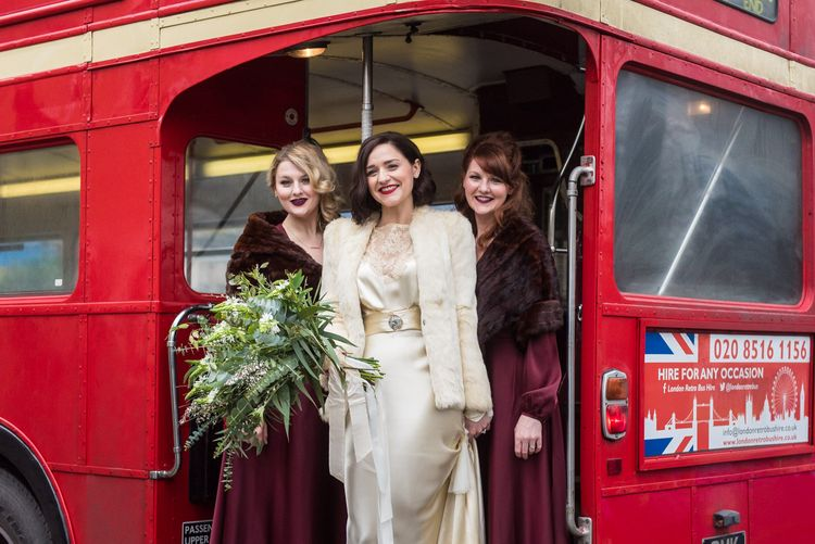 Bridesmaids in Burgundy BHLDN Dresses | Bride in Story of My Dress Bridal Gown | Greenery Bouquet | Vintage Wedding at The Asylum & Town hall Hotel London | Kevin Fern Photography