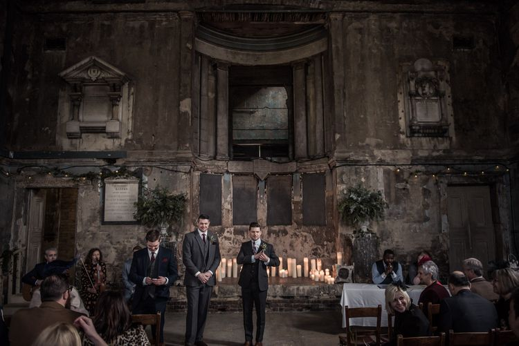 Groom in Navy Suits from Tom James Tailors | Vintage Wedding at The Asylum & Town hall Hotel London | Kevin Fern Photography