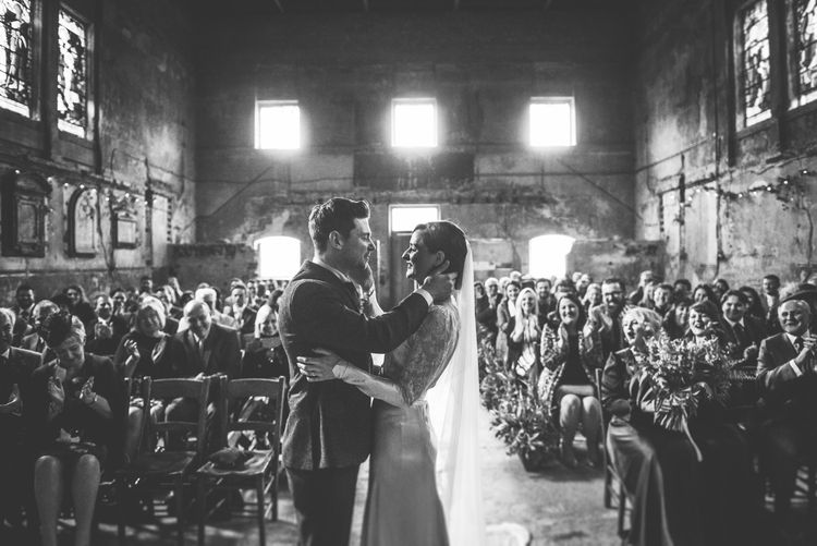 Wedding Ceremony | Bride in Story of My Dress Bridal Gown | Groom in Navy Suit from Tom James Tailors | Vintage Wedding at The Asylum & Town hall Hotel London | Kevin Fern Photography
