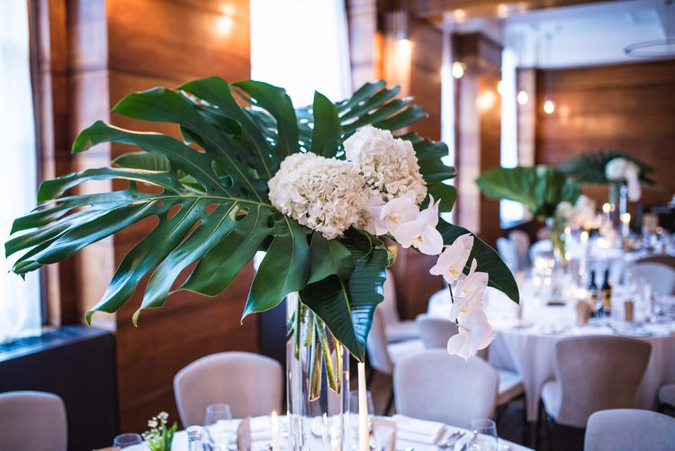 Fern Leaves, White Hydrangeas & Orchids Floral Centrepieces | Vintage Wedding at The Asylum & Town hall Hotel London | Kevin Fern Photography