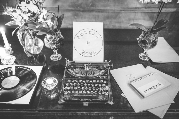 Type Writer Guest Book | Vintage Wedding at The Asylum & Town hall Hotel London | Kevin Fern Photography