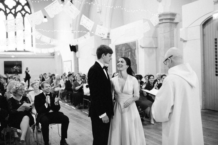 Wedding Ceremony with Elegant Bride in Delphine Manivet Prospere Wedding Dress