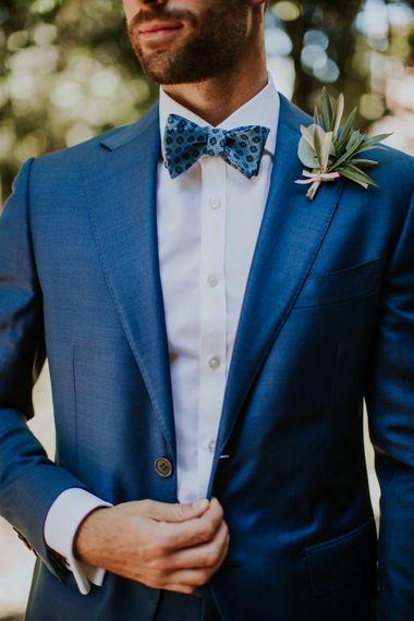 Groom in Light Blue Suit Supply Suit & Bow Tie | D&A Photography | Ben Walton Films
