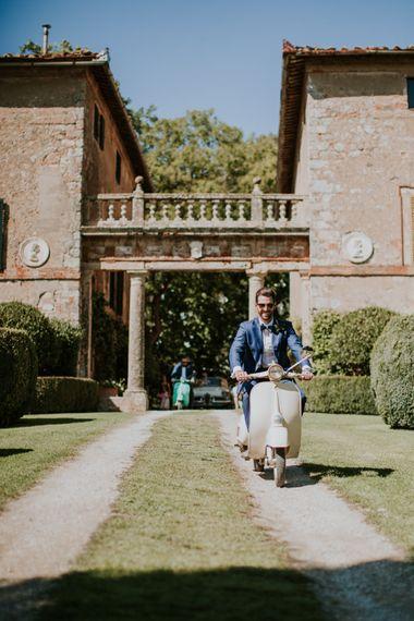 Vespa | Groom in Light Blue Suit Supply Suit & Bow Tie | D&A Photography | Ben Walton Films