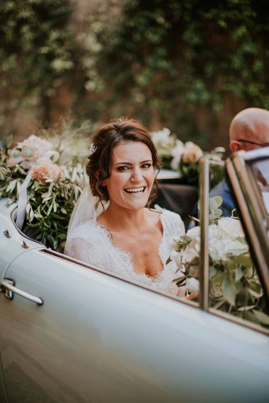 Bridal Entrance in Long Lace Sleeve Gown from Morgan Davies | D&A Photography | Ben Walton Films